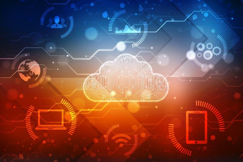 Cloud Computing Concept background, Digital Abstract Background. 2d rendering Cloud computing, Cloud Computing Concept background vector illustration