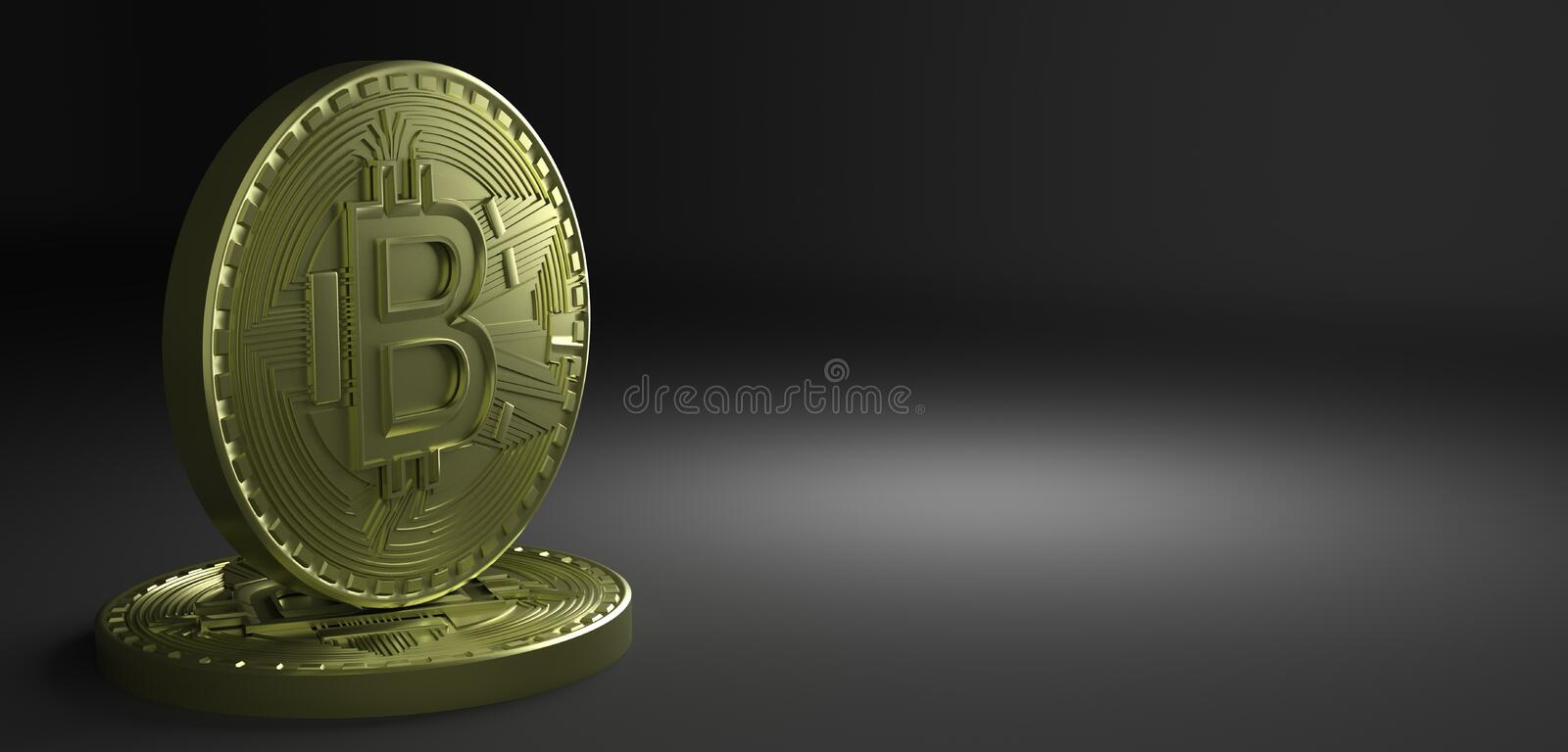 3D Rendering of coin Bitcoin stock illustration