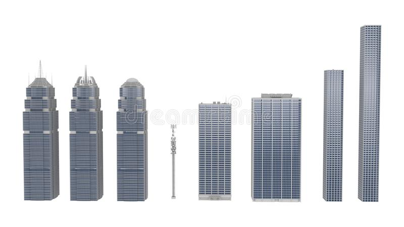 3D Rendering collection of High-rise Buildings over White Background vector illustration