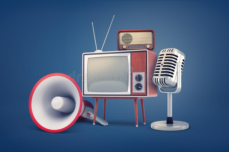 3d rendering of collection of several pieces of vintage equipment: a TV, a radio set, a microphone and a megaphone. royalty free illustration