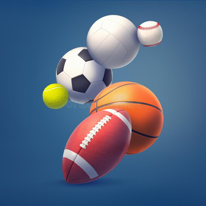 3d rendering of collection of several sport game balls such as football, soccer, and tennis, flying on a dark blue stock photography