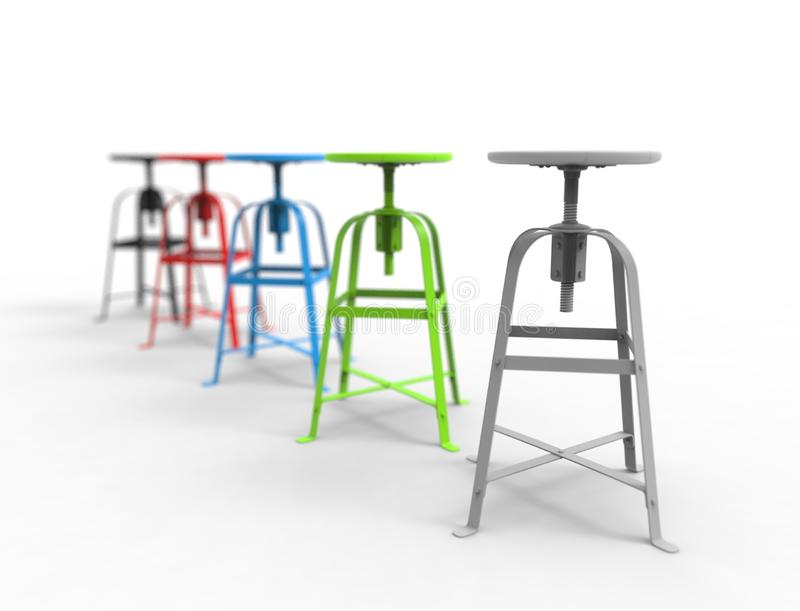 3d rendering of a collection of stools isolated in white background stock illustration