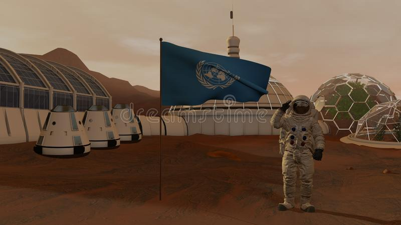 3D rendering. Colony on Mars. Astronaut saluting the UN flag. Exploring Mission To Mars. Futuristic Colonization and Space stock image