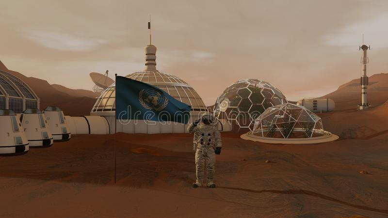 3D rendering. Colony on Mars. Astronaut saluting the UN flag. Exploring Mission To Mars. Futuristic Colonization and Space royalty free stock image