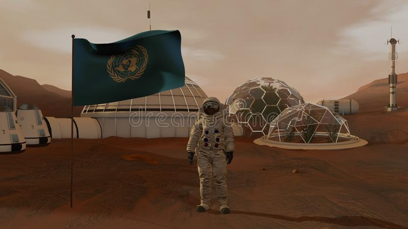 3D rendering. Colony on Mars. Astronaut saluting the UN flag. Exploring Mission To Mars. Futuristic Colonization and Space stock images