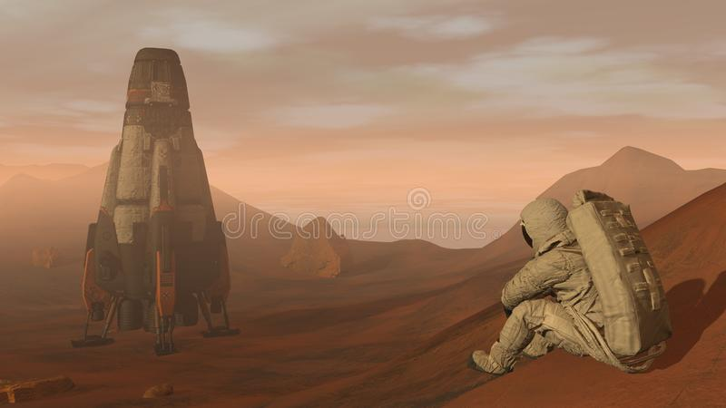 3D rendering. Colony on Mars. Astronaut sitting on Mars and admiring the scenery. Exploring Mission To Mars. Futuristic stock photo