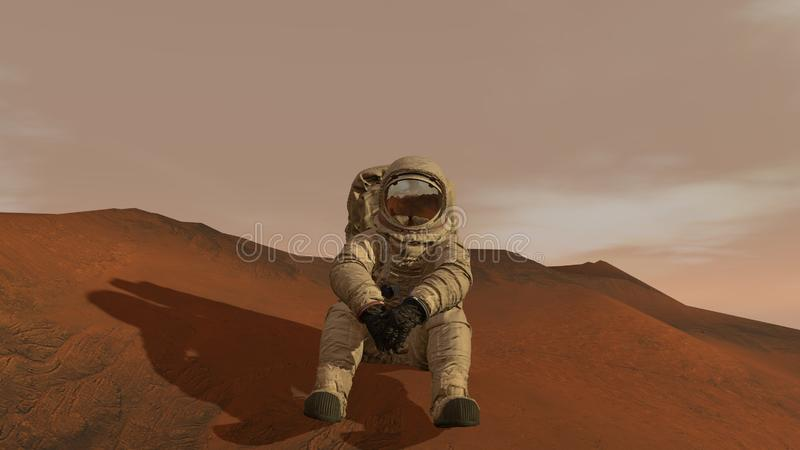 3D rendering. Colony on Mars. Astronaut sitting on Mars and admiring the scenery. Exploring Mission To Mars. Futuristic royalty free stock photography