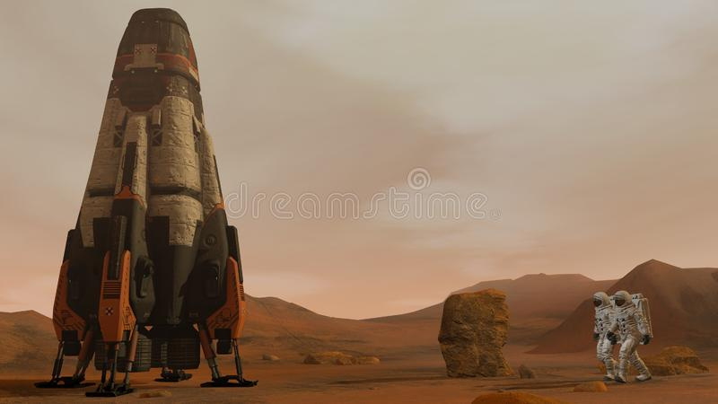 3D rendering. Colony on Mars. Two Astronauts Walking On The Surface Of Mars. Exploring Mission To Mars. Futuristic Colonization royalty free stock photography
