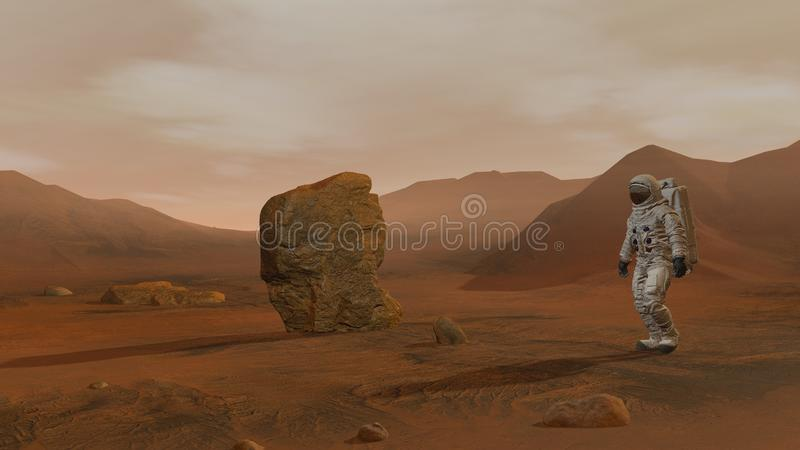 3D rendering. Colony on Mars. Two Astronauts Wearing Space Suit Walking On The Surface Of Mars stock illustration