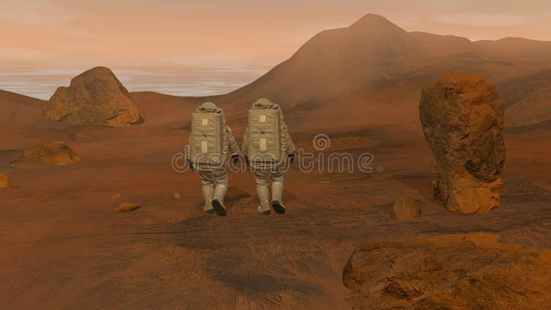 3D rendering. Colony on Mars. Two Astronauts Wearing Space Suit Walking On The Surface Of Mars. Exploring Mission To Mars. Futuristic Colonization and Space vector illustration