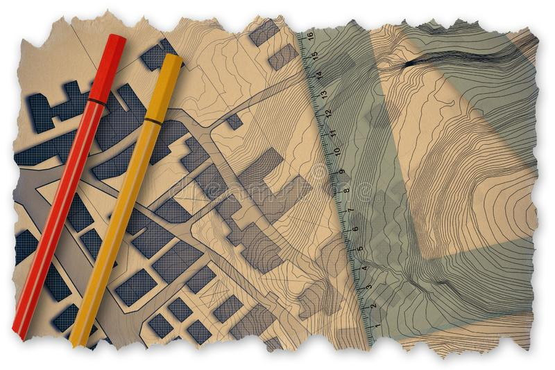 3D rendering of colored work tool over a cadastral map of territory with buildings, fields and roads - Retro style concept image vector illustration