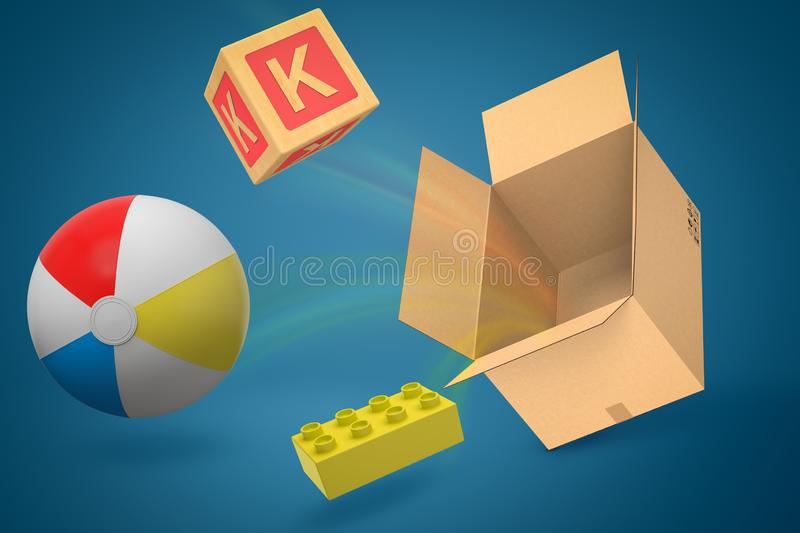3d rendering of colorful alphabet toy block, ball and lego piece flying out of cardboard box on blue background. Digital art. Objects and materials. Toys and stock photography
