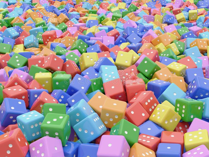 3D rendering of colorful dice. 3D computer generated rendered illustration of colorful dice in mound royalty free illustration