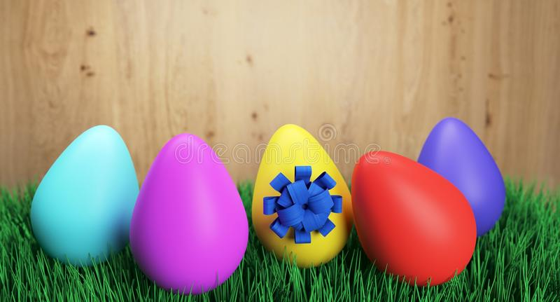 Colorful Easter Eggs With Blue Bow On Green Grass royalty free illustration