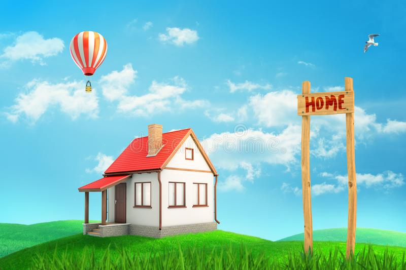 3d rendering of colorful landscape with a small private house, an air balloon and a `HOME` sign on blue sky background vector illustration