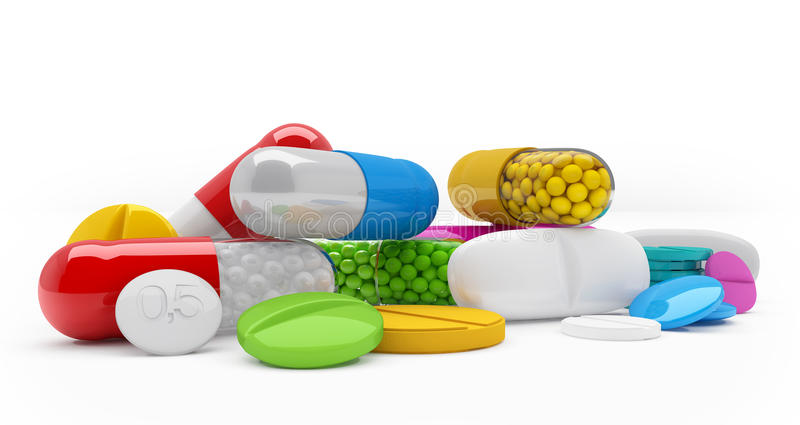 3d rendering - colorful tablets, pills, capsules - medicament. 3d rendering of colorful tablets, pills, capsules - medicament over white background vector illustration