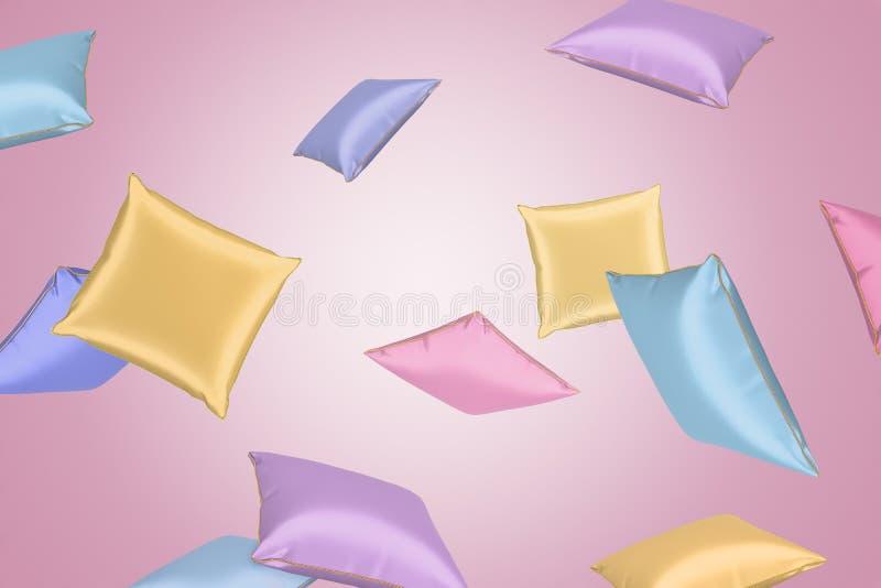 3d rendering colourful atłasowe poduszki lata wokoło na menchii tle ilustracja wektor