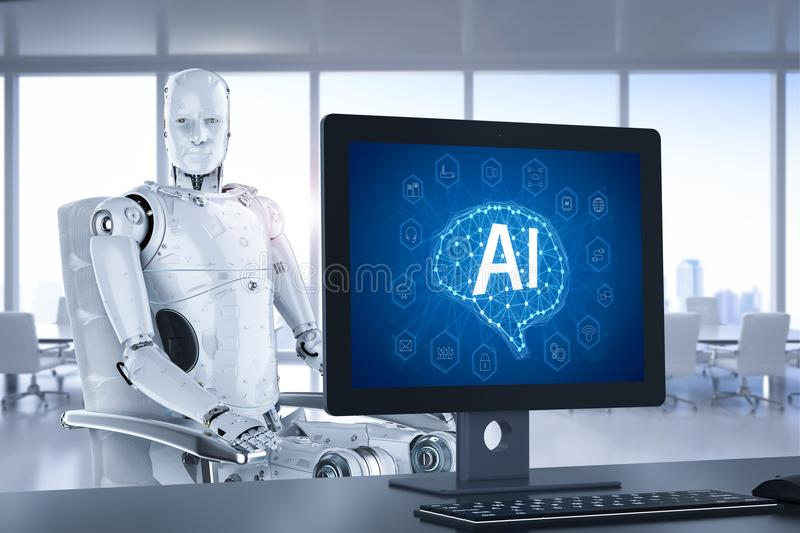 Computer control ai. 3d rendering computer control ai robot technology in office vector illustration