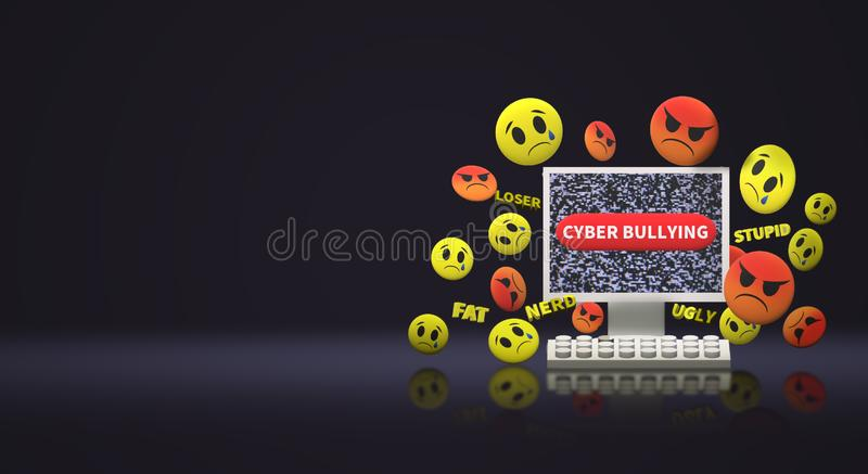 The 3d rendering  computer and emotion  for  cyber bullying content vector illustration