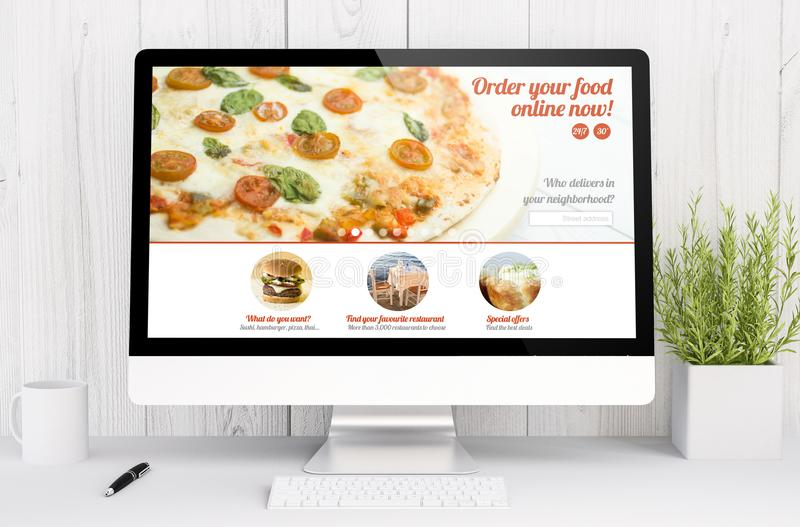 White workspace with computer food order. 3d rendering computer food order website on computer. All screen graphics are made up royalty free stock images
