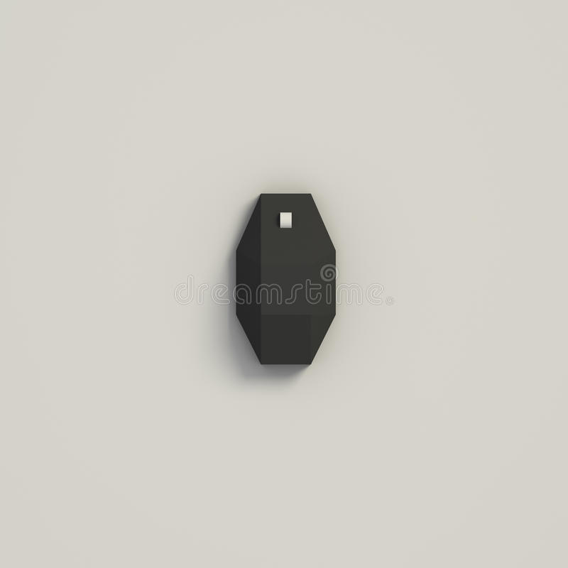 3D RENDERING OF COMPUTER MOUSE FROM TOP VIEW. 3D RENDERING OF BLACK COMPUTER MOUSE FROM TOP VIEW ON WHITE PLAIN BACKGROUND stock illustration