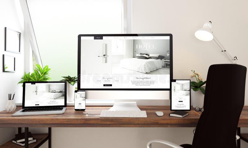 window office desktop devices hotel website royalty free illustration