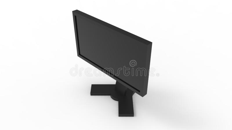 3d rendering of a computer screen isolated in white studio background vector illustration