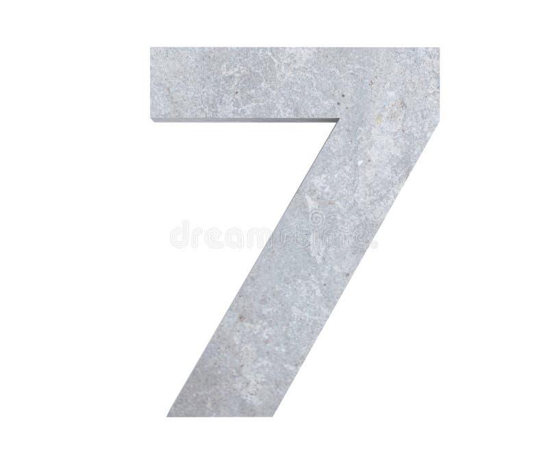 3D rendering concrete number 7 seven. 3D render Illustration stock illustration