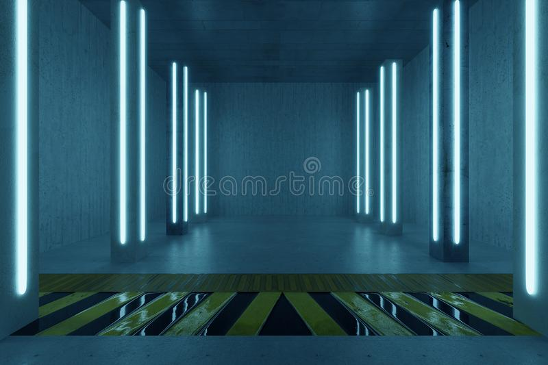 3d rendering of concrete room with pillars and blue light panels. Above hazard floor pattern stock photo