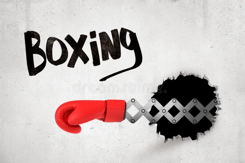 3d rendering of concrete wall with title `Boxing`, and black hole and red boxing glove popping out of it. Aggressive sports. Sporting goods. Sports equipment stock photography