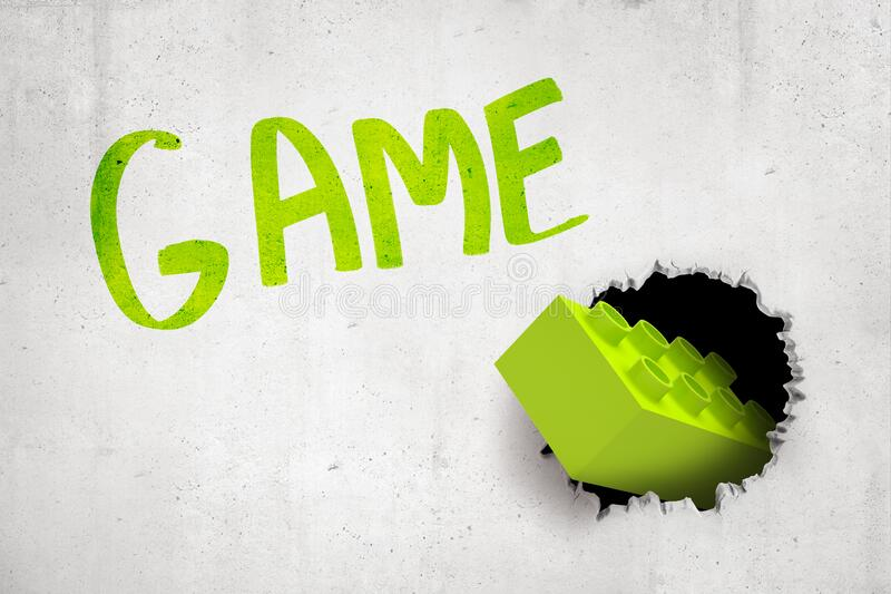 3d rendering of concrete wall with title `GAME` and bright green lego brick that has been thrown into wall and has stock illustration