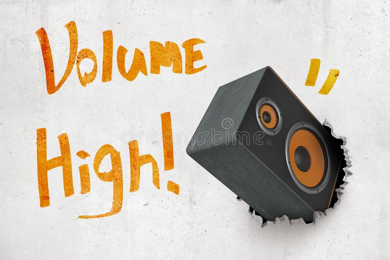 3d rendering of concrete wall with title `Volume High` and black and orange audio column speaker that has torn hole in. The wall. Sound equipment. Music stock images