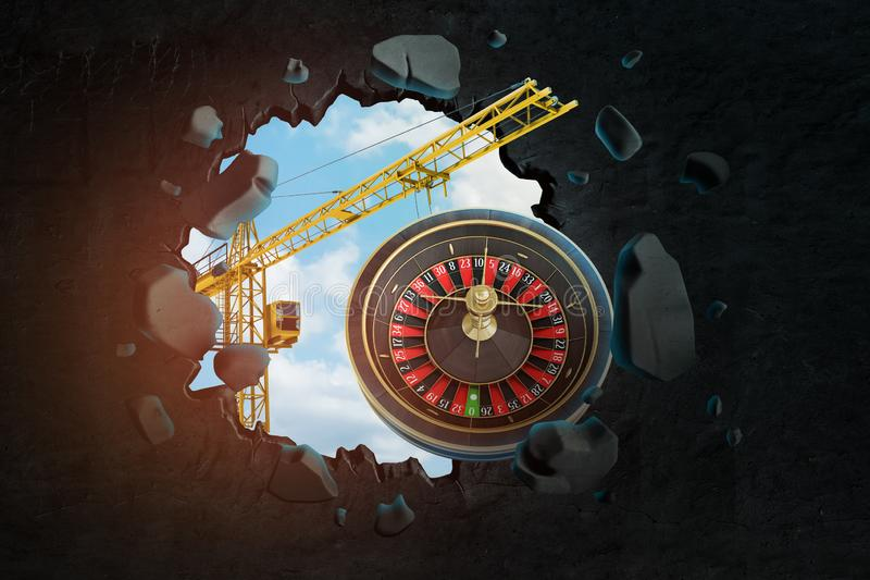 3d rendering of construction crane and casino roulette seen through gap in black wall royalty free illustration