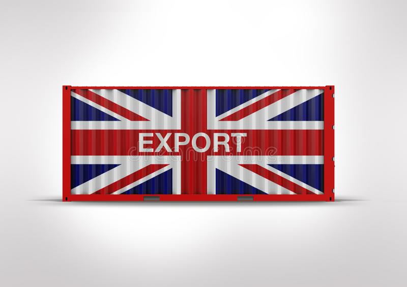 3D rendering, container flag British. British flag in 3D rendering, container, key element in globalization, reduces costs and speeds up the logistics royalty free stock photography