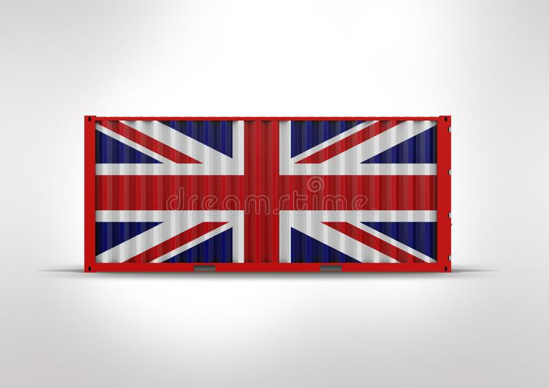 3D rendering, container the flag of Great Britain. British flag in 3D rendering, container, key element in globalization, reduces costs and accelerates logistics royalty free stock photography