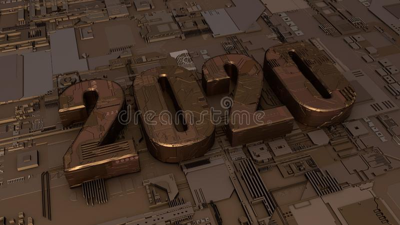 3D rendering of copper symbol of 2020 new year on electronic background. 3D text illustration with technological surface, the idea stock illustration