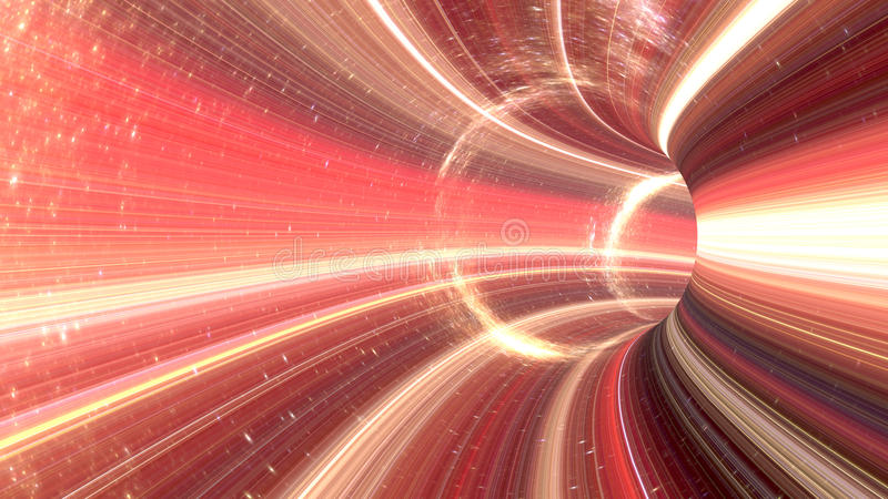 3D rendering Cosmic wormhole tunnel. 3d rendering of a wormhole. The futuristic tunnel has a bright lights in red colors vector illustration