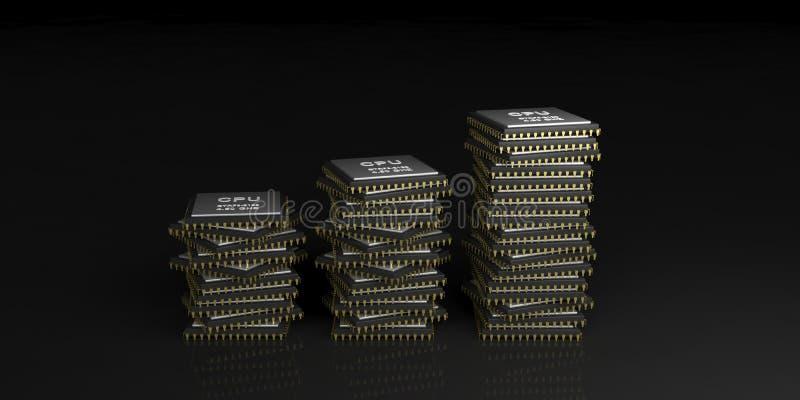 3d rendering cpu processors stack vector illustration