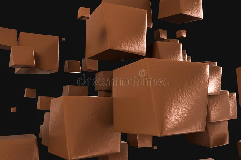 3d rendering, creative cubes with warped shape royalty free illustration