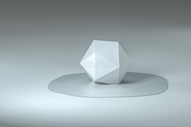 3d rendering, creative melted geometry with white background stock images