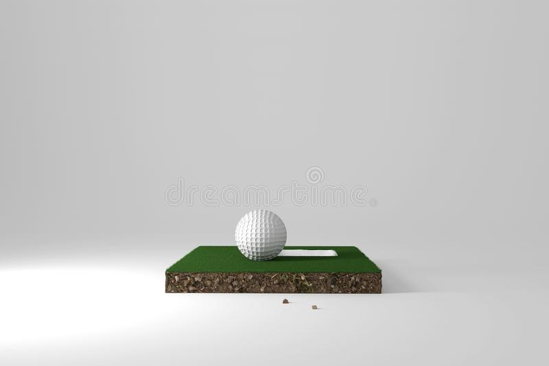 3d rendering of cross section from golf course with ball and hole on it stock illustration