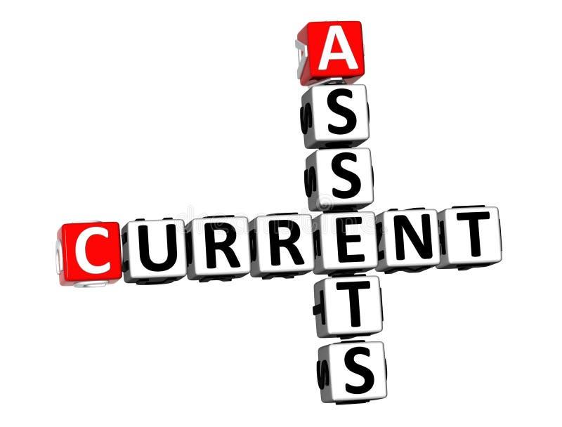 3D Rendering Crossword Current Assets Over White Background. stock illustration
