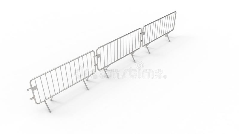 3d rendering of a crowd control fence isolated in white background. 3d rendering of a crowd control fence isolated in white studio background stock illustration