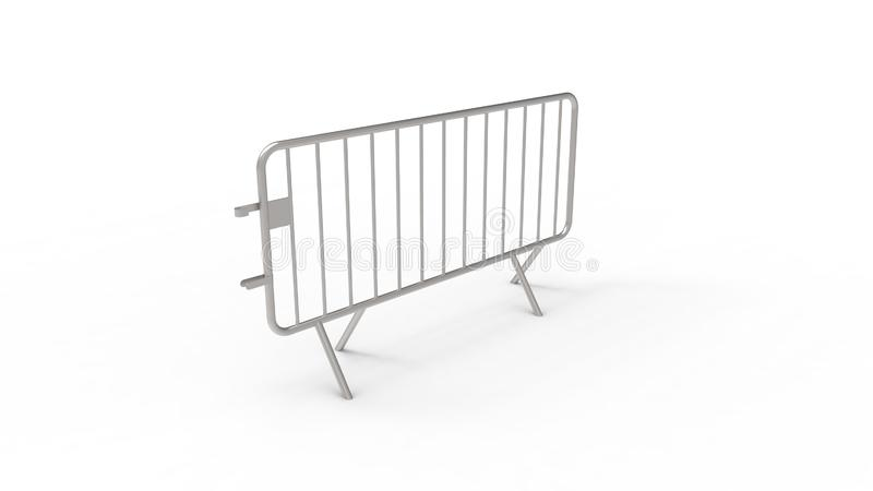 3d rendering of a crowd control fence isolated in white background. 3d rendering of a crowd control fence isolated in white studio background royalty free illustration