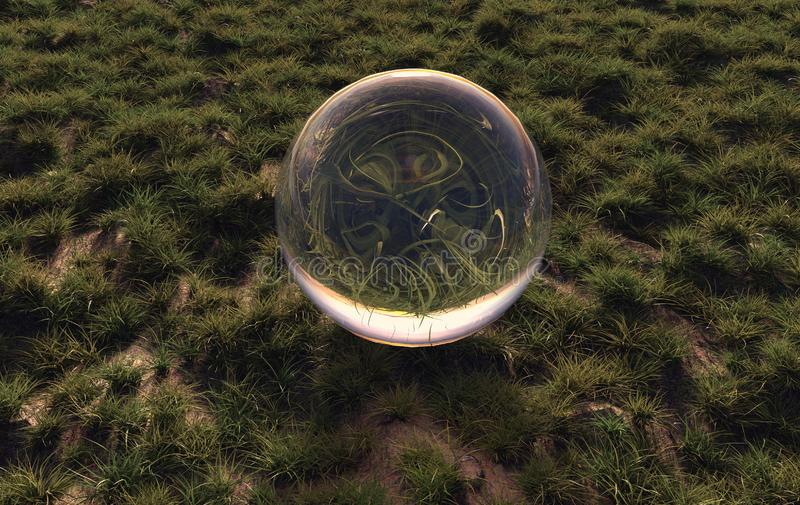 3d rendering of crystal ball on green grass in the morning sunshine light stock illustration