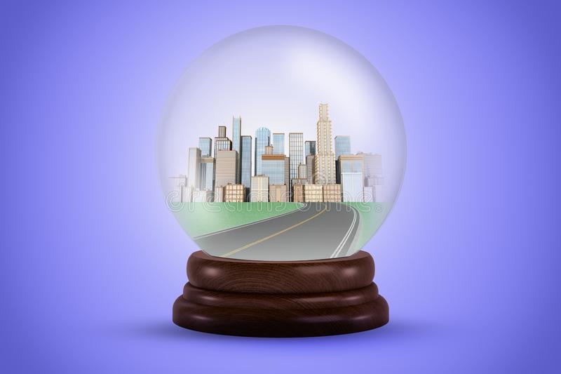 3d rendering of a crystal ball with a road leading to a city in it. royalty free illustration