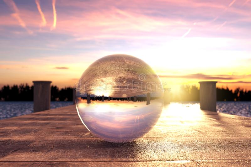 3d rendering of crystal ball on wooden bridge in the morning light vector illustration