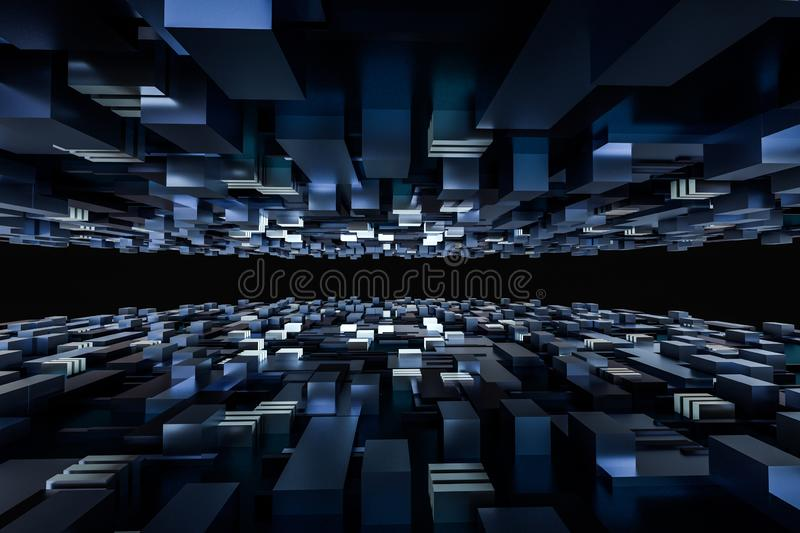 3d rendering, cubes board space, fantasy world. Computer digital image tech chip engineering technology motherboard circuit hardware processor electricity stock image