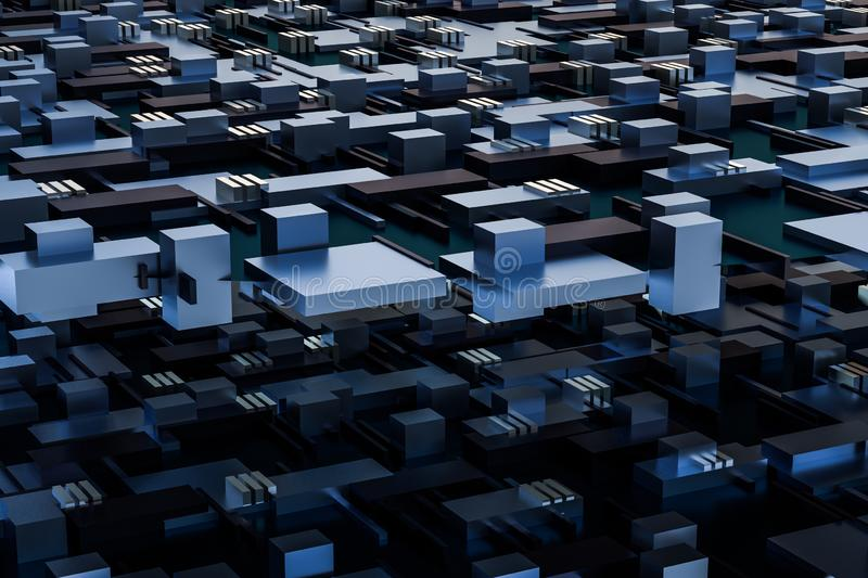 3d rendering, cubes board space, fantasy world. Computer digital image tech chip engineering technology motherboard circuit hardware processor electricity royalty free stock photography