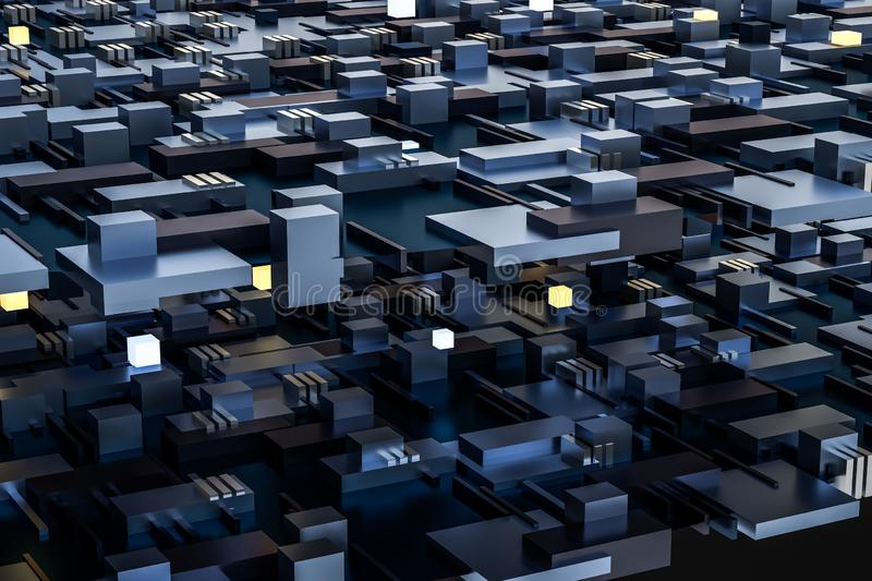 3d rendering, cubes board space, fantasy world. Computer digital image tech chip engineering technology motherboard circuit hardware processor electricity stock images